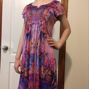 Silky Butterfly Print Nightgown